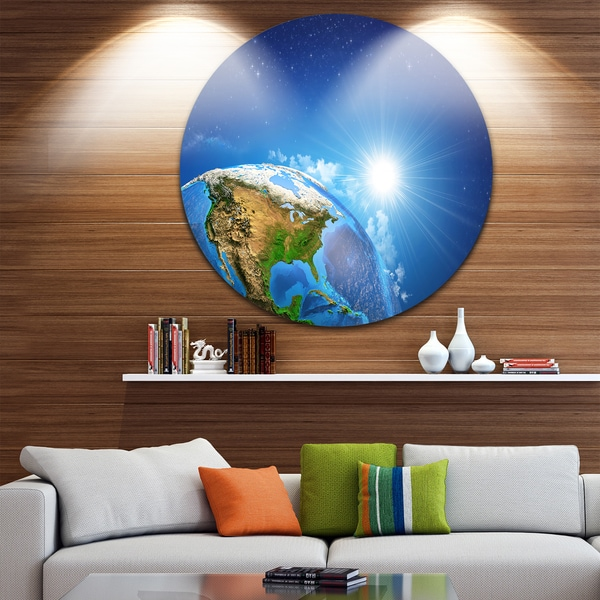 Designart U0027Sunrise Over The Earth Landscapeu0027 Round Metal ...