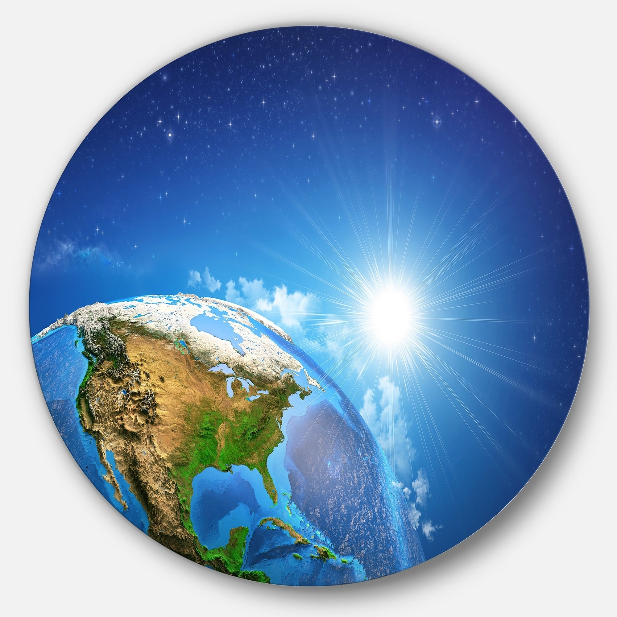 Designart Sunrise Over The Earth Landscape Round Metal Wall Art Overstock 14264038