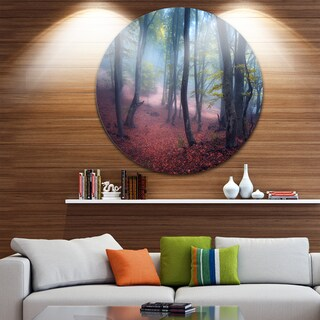 Designart 'Mysterious Fairytale Green Wood' Landscape Photo Large Disc Metal Wall art
