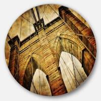 Designart 'Vintage Brooklyn Bridge' Contemporary Round Wall Art