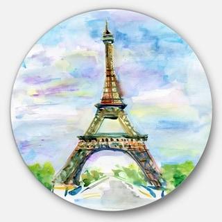 Designart 'Eiffel Tower against Blue Sky' Watercolor Disc Metal Artwork