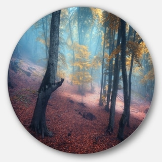 Designart 'Mysterious Fairytale Yellow Wood' Landscape Photo Round Wall Art