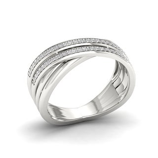 Link to 1/5ct TDW Diamond Criss Cross Ring in Sterling Silver Similar Items in Rings