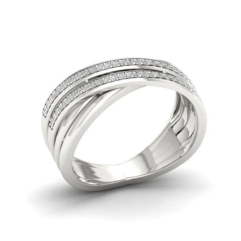 1/5ct TDW Diamond Criss Cross Ring in Sterling Silver - White
