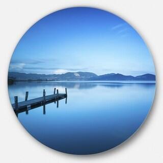 Designart 'Bright Blue Sky with Pier' Seascape Photo Round Wall Art