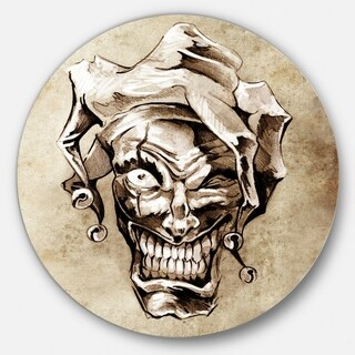 Designart 'Fantasy Clown Joker' Portrait Digital Art Round Metal Wall Art