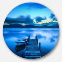 Designart 'Cloudy Blue Sky with Pier' Seascape Photo Disc Metal Wall Art