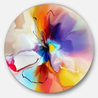 Designart 'Creative Flower in Multiple Colors' Abstract Floral Large Circle Metal Wall art