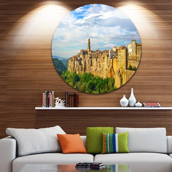 Designart \'Tuscany Pitigliano Medieval Village\' Photo Round Metal ...