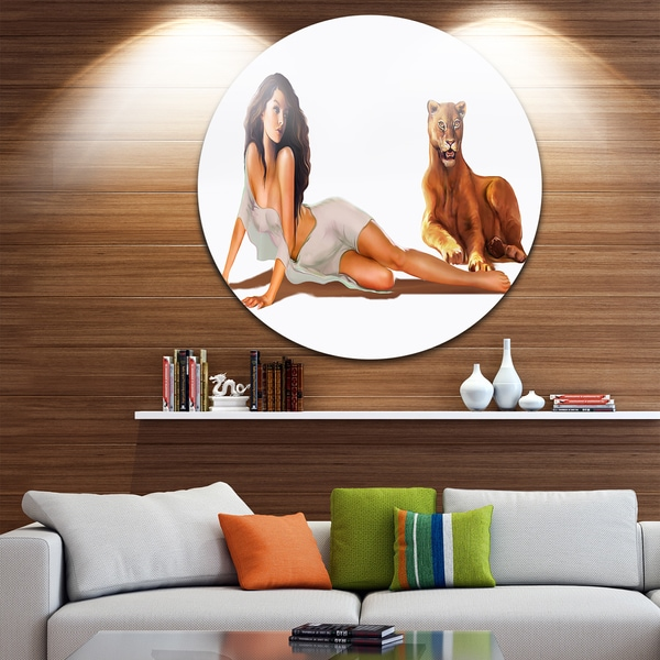 Designart 'Sexy Woman with Lion' Portrait Digital Art Disc Metal Wall Art