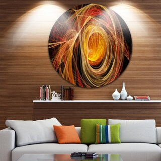 Designart 'Orange Ball of Yarn' Abstract Digital Art Disc Metal Artwork