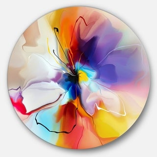 Designart 'Creative Flower in Multiple Colors' Abstract Floral Circle Metal Artwork