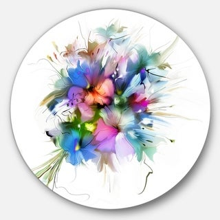 Designart 'Summer Colorful Flowers' Watercolor Painting Circle Wall Art