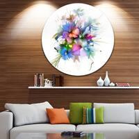 Designart 'Summer Colorful Flowers' Watercolor Painting Circle Wall Art