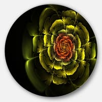 Designart 'Fractal Yellow Rose in Dark' Floral Abstract Art Round Wall Art