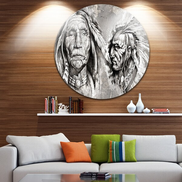 Designart Native American Indian Heads Portrait Digital Art Disc Metal Artwork On Free Shipping Today 14264121