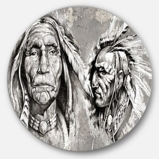 Designart 'Native American Indian Heads' Portrait Digital Art Disc Metal Artwork