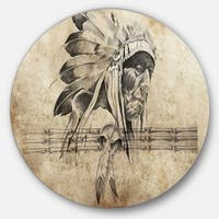 Designart 'American Indian Warrior Tattoo Sketch' Digital Art Circle Wall Art