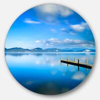 Designart 'Cloudy Sky Over Blue Sea' Seascape Photo Circle Wall Art