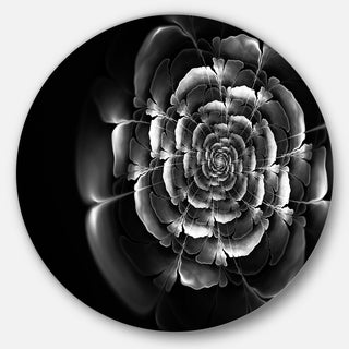 Designart 'Fractal Silver Rose in Dark' Floral Abstract Art Disc Metal Artwork