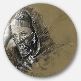 Designart 'Exotic Arabic Woman' Portrait Digital Art Round Wall Art