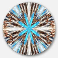 Designart 'Flowers with Radiating Rays' Abstract Digital Art Round Metal Wall Art