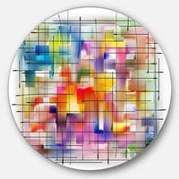 Designart 'Colorful Stain Design with Grid' Abstract Painting Round Wall Art