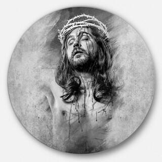 Designart 'Jesus Christ' Portrait Digital Art Circle Wall Art