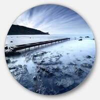 Designart 'Wooden Pier Deep into Sea' Seascape Photo Round Metal Wall Art