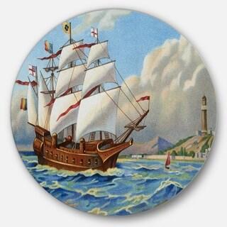 Designart 'Ancient Boat Drifting in Sea' Seascape Painting Disc Metal Wall Art