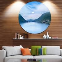 Designart 'Blue Como Lake Landscape' Photo Round Wall Art