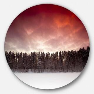 Designart 'Sunset over Frozen Lake' Landscape Photo Large Disc Metal Wall art