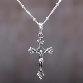 Handcrafted Sterling Silver 'Accompanied by Christ' Cross Necklace (Indonesia)