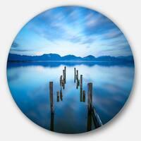 Designart 'Deep into the Sea Pier' Seascape Photo Round Wall Art