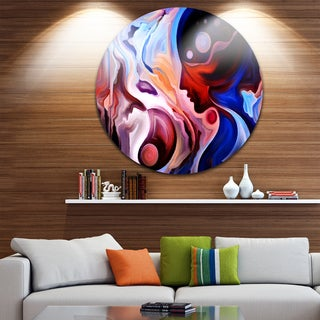 Designart 'Watching Woman Painting' Abstract Round Wall Art