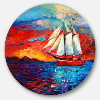 Designart 'Sail Ship During Sunset' Seascape Painting Disc Metal Artwork
