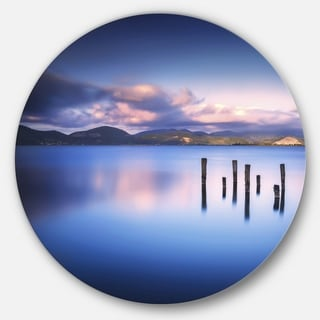 Designart 'Colorful Clouds at Sunset' Seascape Photo Circle Wall Art
