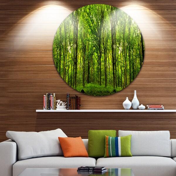 Designart 'Green Forest' Landscape Photo Disc Metal Artwork