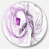 Designart 'Billowing Smoke Purple' Abstract Digital Art Round Metal Wall Art