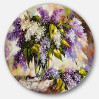 Designart 'Lilac Bouquet in a Vase' Floral Painting Round Metal Wall Art