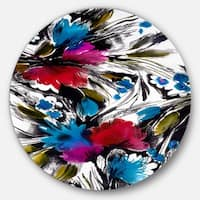 Designart 'Flowers with Fusion of Colors' Abstract Digital Art Large Disc Metal Wall art