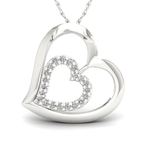 1/8ct TDW Diamond Heart Necklace in Sterling Silver - White