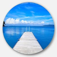 Designart 'Wooden Pier' Seascape Photo Disc Metal Wall Art