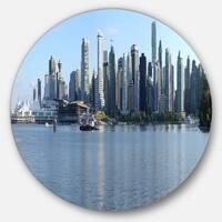 Designart 'Vancouver BC Skyline Panorama' Cityscape Photo Circle Wall Art