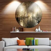 Designart 'Night Alley with Lights' Photography Landscape Circle Wall Art