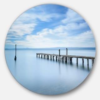 Designart 'Bright Sky and Blue Sea' Seascape Photo Disc Metal Artwork