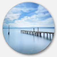 Designart 'Bright Sky and Blue Sea' Seascape Photo Disc Metal Artwork