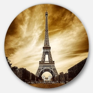 Designart 'Eiffel Tower in Grey Shade' Landscape Photo Disc Metal Wall Art