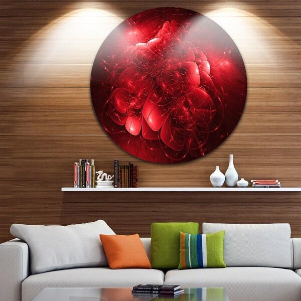 Designart 'Alien Mystical Flower Red' Floral Digital Art Disc Metal Wall Art