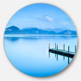 Designart 'Beautiful Pier in Sea' Seascape Photo Circle Wall Art